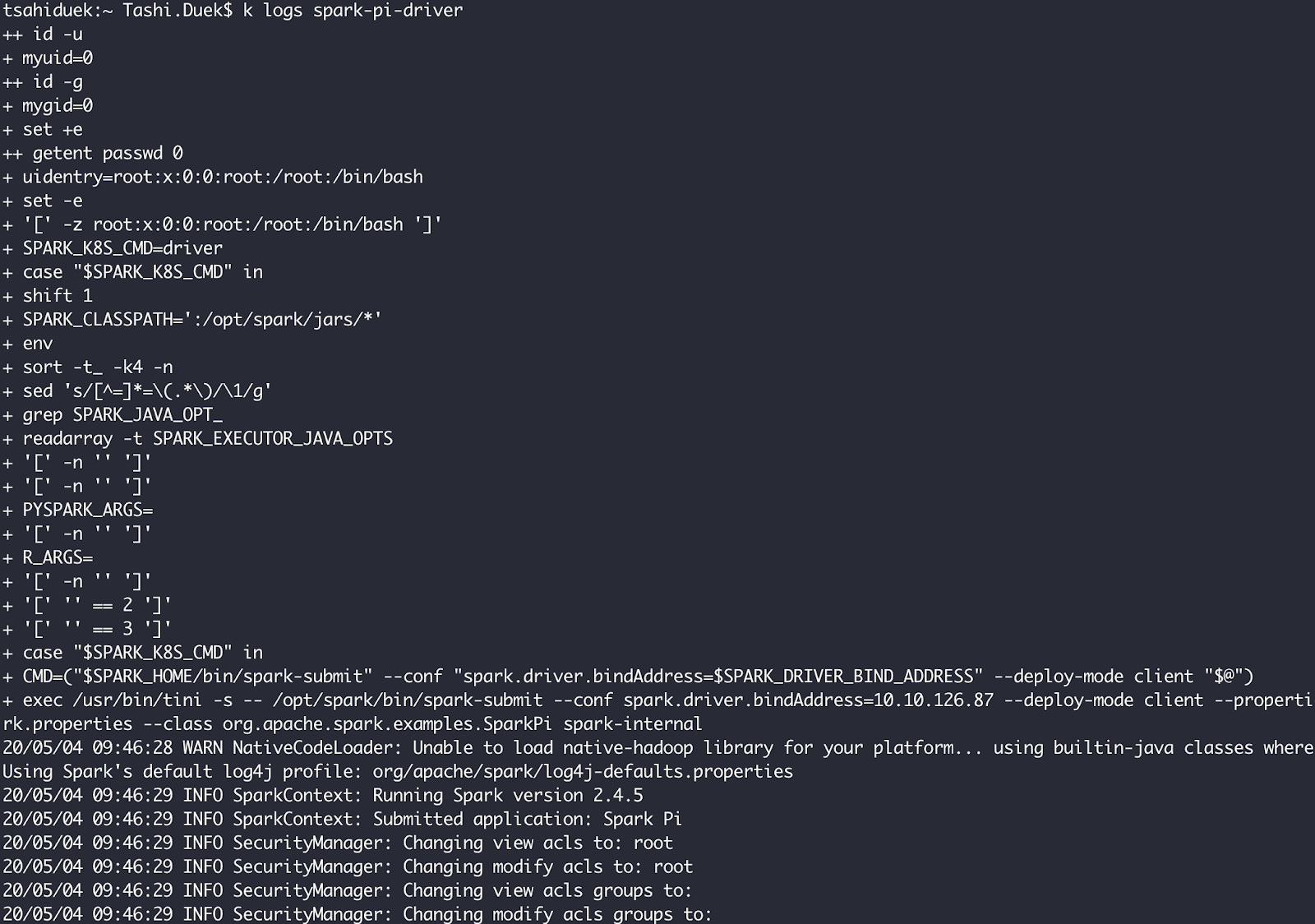 Apache Spark driver pod logs