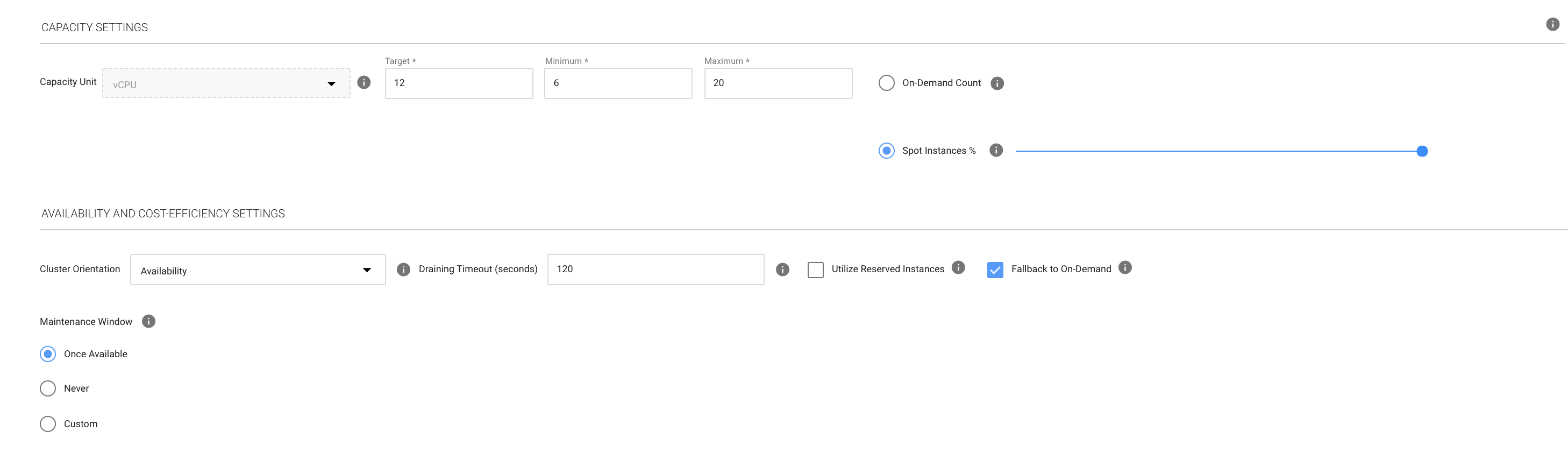automatic fallback to EC2 on-demand instances