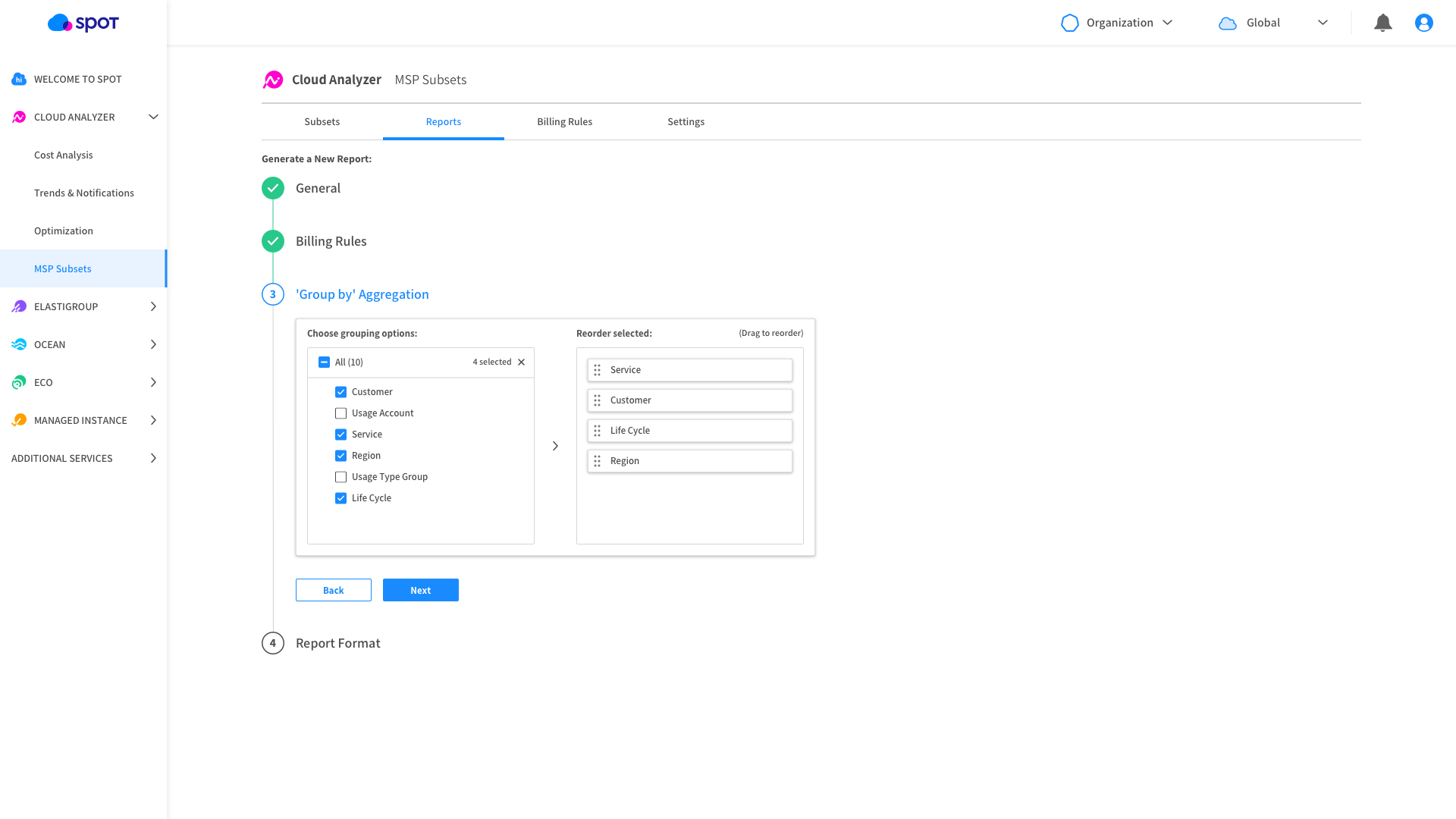 Cloud MSP cost and profit report creation